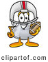 Stock Mascot Cartoon of a Happy Erlenmeyer Conical Laboratory Flask Beaker Mascot Cartoon Character in a Helmet, Holding a Football by Toons4Biz