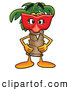 Stock Mascot Cartoon of a Palm Tree Mascot Wearing a Face Mask by Toons4Biz