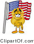 Stock Mascot Cartoon of a Patriotic Badge Mascot Cartoon Character Pledging Allegiance to an American Flag by Toons4Biz