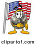 Stock Mascot Cartoon of a Patriotic Black Bowling Ball Mascot Cartoon Character Pledging Allegiance to an American Flag by Toons4Biz