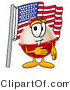 Stock Mascot Cartoon of a Patriotic Red and White Fishing Bobber Mascot Cartoon Character Pledging Allegiance to an American Flag by Toons4Biz