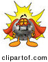 Stock Mascot Cartoon of a Proud Bowling Ball Mascot Cartoon Character Dressed As a Super Hero by Toons4Biz