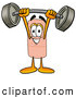 Stock Mascot Cartoon of a Smiling Bandaid Bandage Mascot Cartoon Character Lifting a Heavy Barbell by Toons4Biz