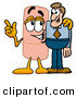 Stock Mascot Cartoon of a Smiling Bandaid Bandage Mascot Cartoon Character Talking to a Business Man by Toons4Biz