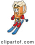 Stock Mascot Cartoon of a Smiling Beer Mug Mascot Cartoon Character Skiing Downhill by Toons4Biz