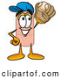 Stock Mascot Cartoon of a Sporty Bandaid Bandage Mascot Cartoon Character Catching a Baseball with a Glove by Toons4Biz