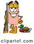 Stock Mascot Cartoon of a Sporty Bandaid Bandage Mascot Cartoon Character Duck Hunting, Standing with a Rifle and Duck by Toons4Biz