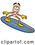 Stock Mascot Cartoon of a Sporty Bandaid Bandage Mascot Cartoon Character Surfing on a Blue and Yellow Surfboard by Toons4Biz