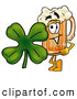 Stock Mascot Cartoon of ACute Beer Mug Mascot Cartoon Character with a Green Four Leaf Clover on St Paddy's Day by Toons4Biz