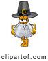 Stock Mascot Cartoon of an Erlenmeyer Conical Laboratory Flask Beaker Mascot Cartoon Character Wearing a Pilgrim Hat on Thanksgiving Holiday by Toons4Biz