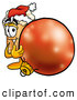 Stock Mascot Cartoon of an Outgoing Beer Mug Mascot Cartoon Character Wearing a Santa Hat, Standing with a Christmas Bauble by Toons4Biz