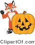 Stock Vector Mascot Cartoon of a Red Fox with a Halloween Pumpkin by Toons4Biz