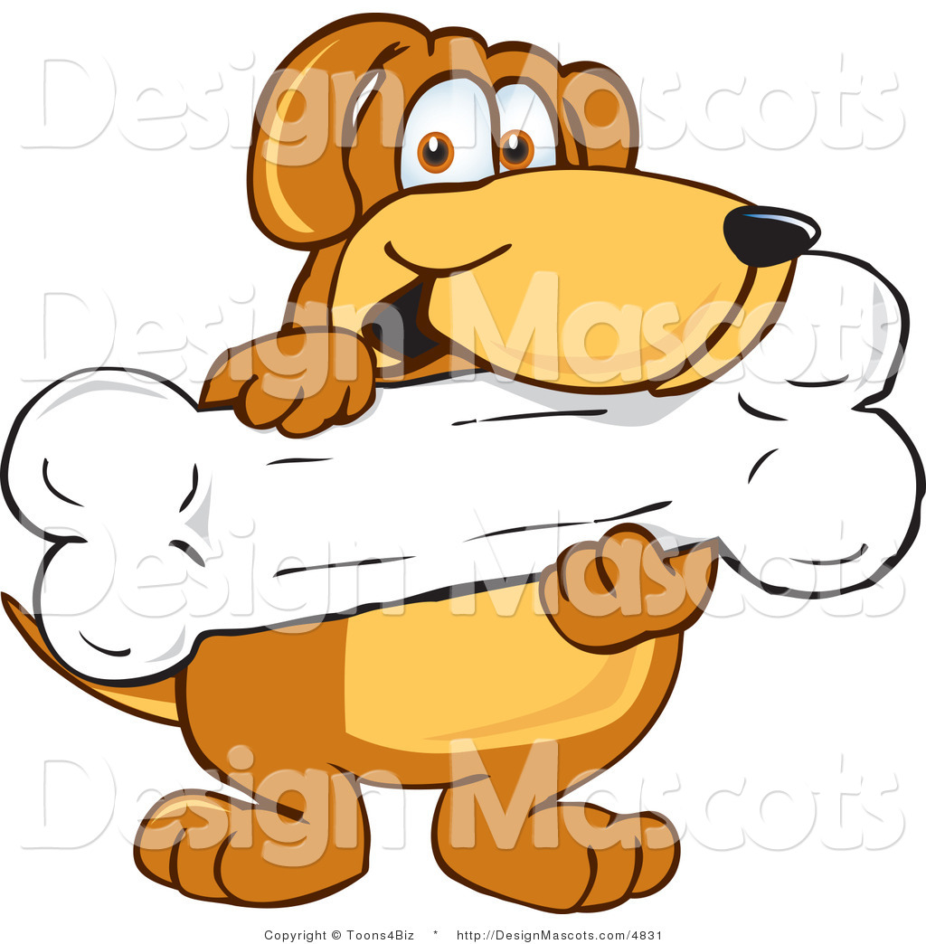 Clipart Of A Brown Dog Mascot Cartoon Character Holding A Bone Royalty Free By Toons4biz 4831