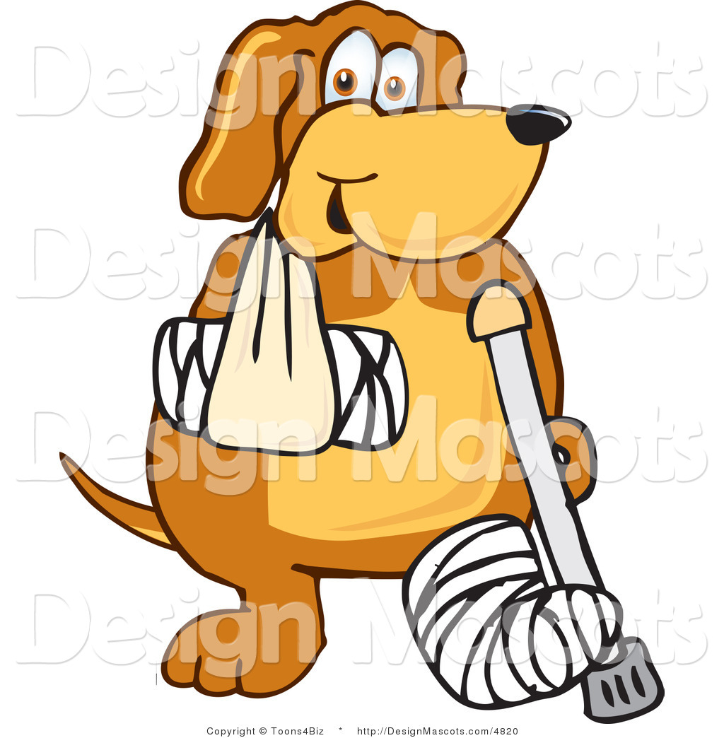 Clipart Of A Brown Dog Mascot Cartoon Character With A Broken Arm And Leg Royalty Free By Toons4biz 4820