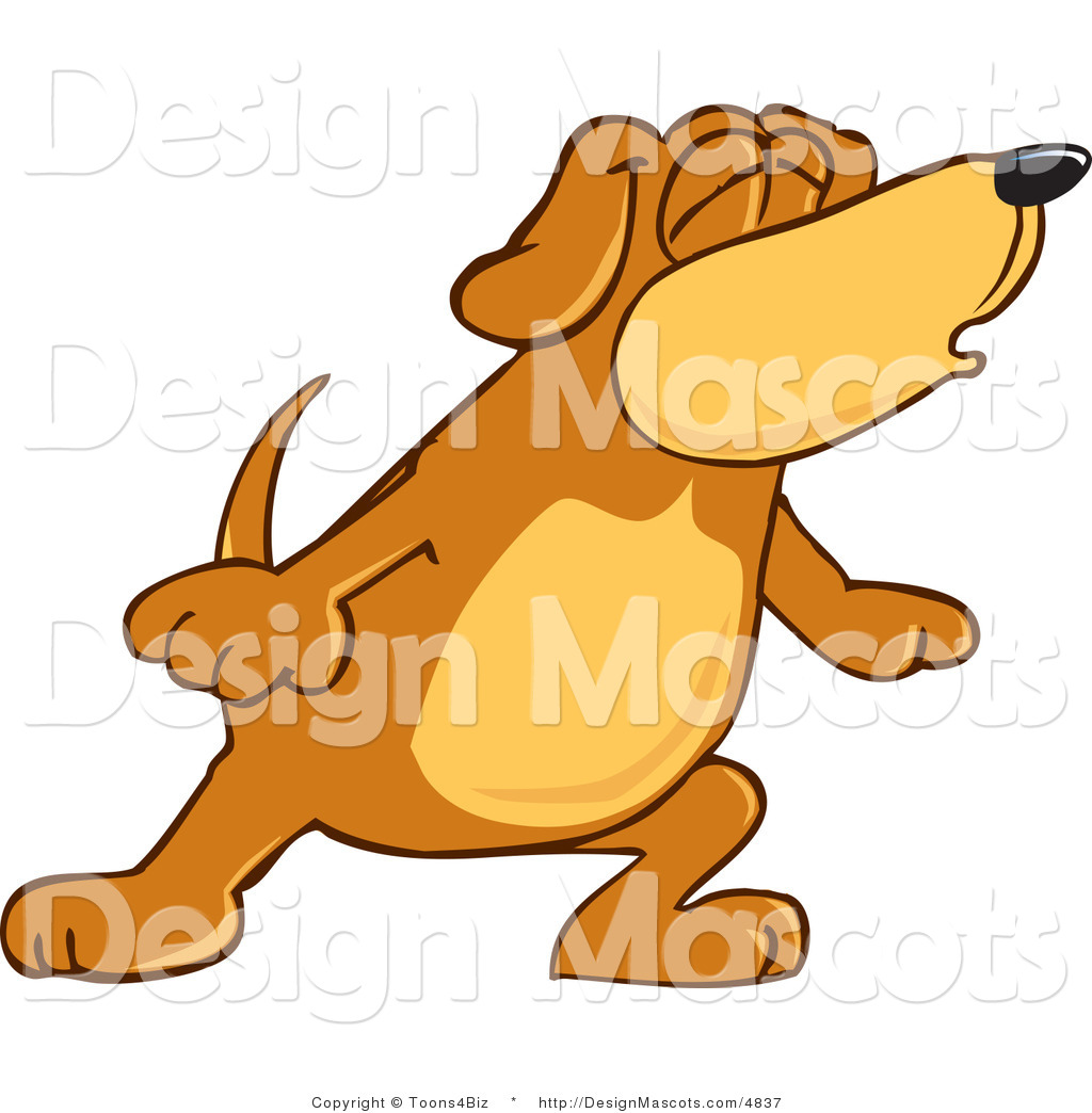 Clipart Of A Brown Dog Mascot Cartoon Character With Closed Eyes Royalty Free By Toons4biz 4837