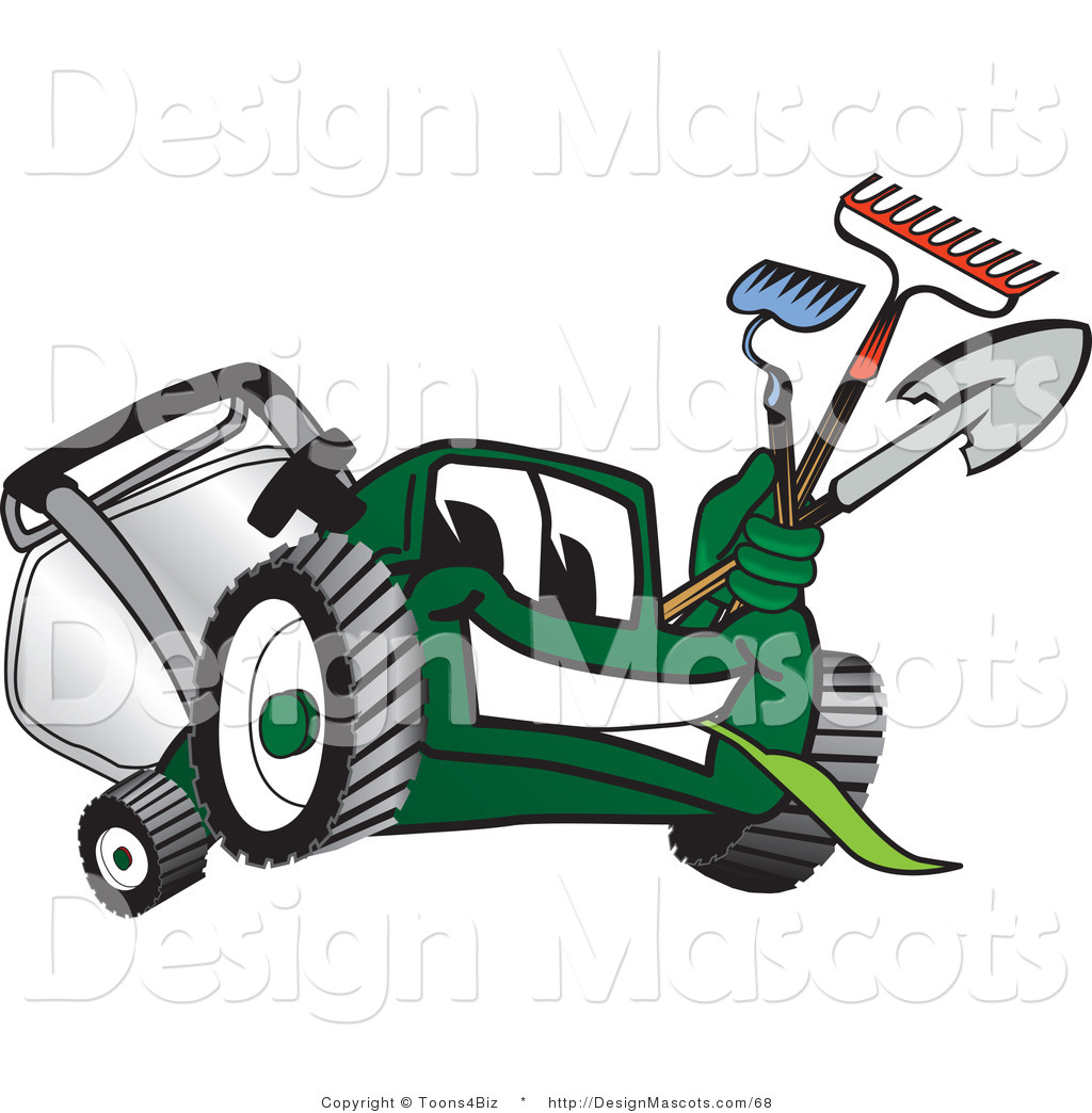Clipart Of A Green Lawn Mower Mascot Carrying Garden Tools Royalty Free By Toons4biz 68