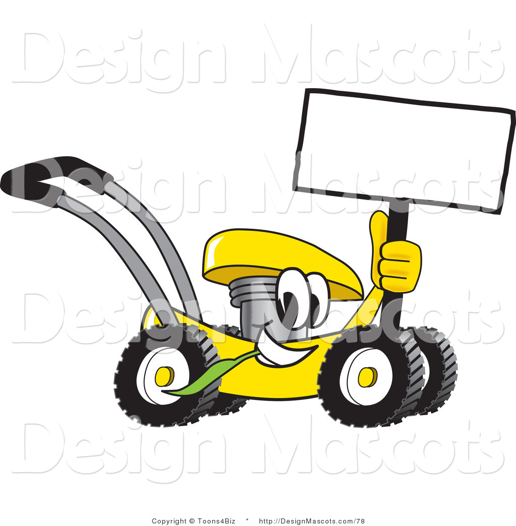 Clipart Of A Yellow Lawn Mower Mascot Cartoon Passing By Royalty Free By Toons4biz 78