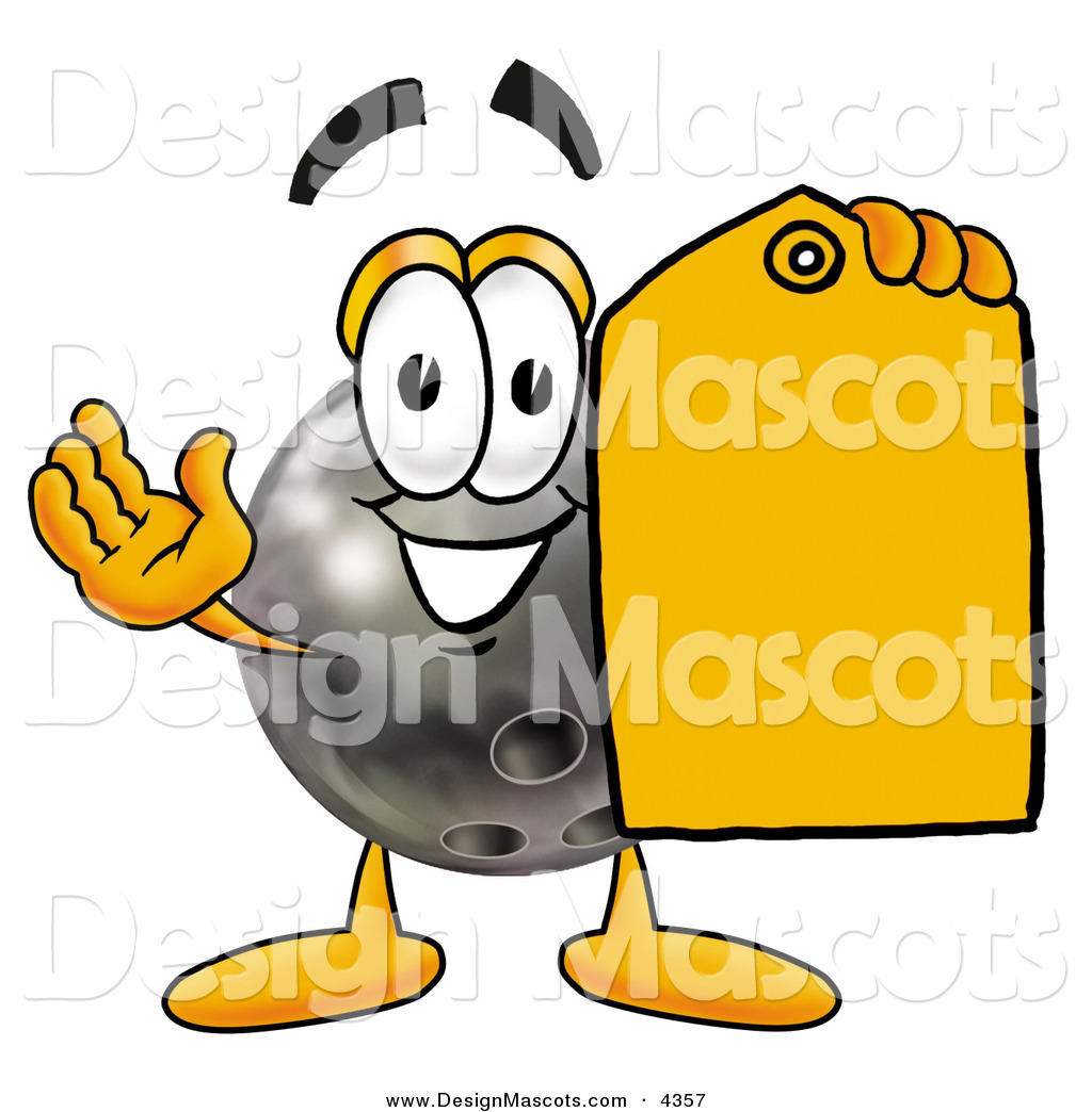 Cartoon Characters Yellow : Stock mascot cartoon of a bowling ball