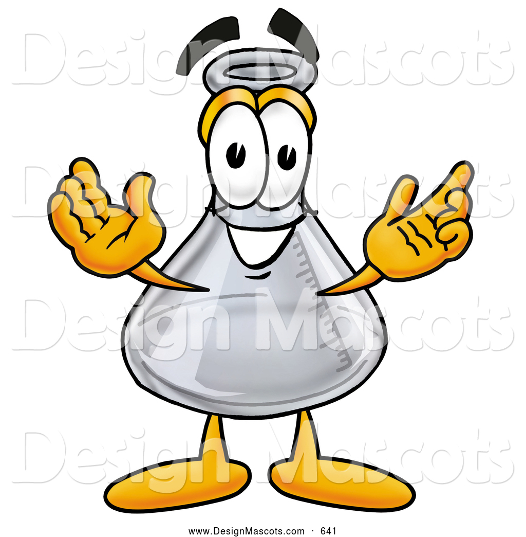 Stock Mascot Cartoon Of A Glass Erlenmeyer Conical Laboratory Flask Beaker Mascot Cartoon Character With Welcoming Open Arms By Toons4biz 641